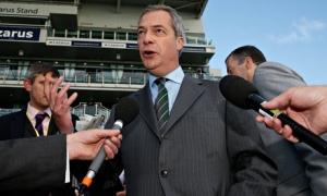 Nigel Farage speaks to reporters at Doncaster racecourse
